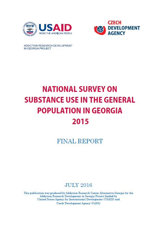 National Survey On Substance Use In The General Population In Georgia 2015